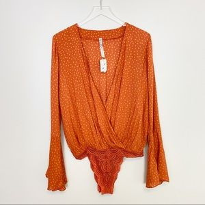 NWT Free People Orange Polka Dot Body Suit Small